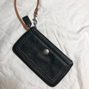 Coach black pebbled leather wristlet (never used)